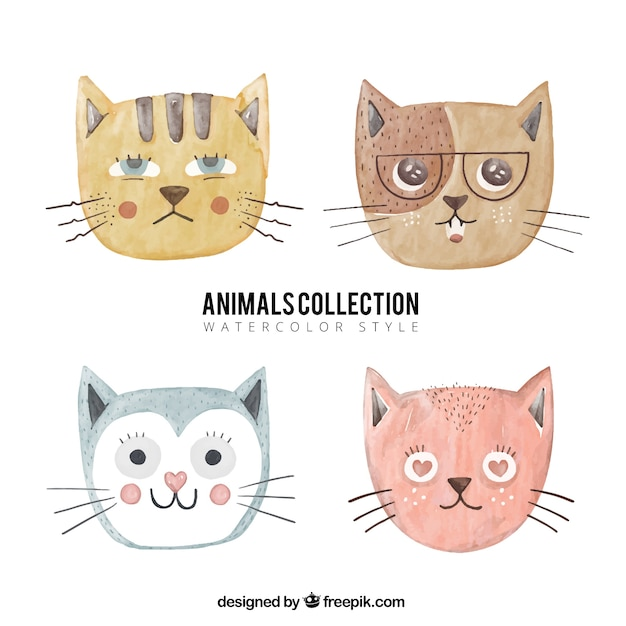 Selection of cats in watercolor style Free Vector
