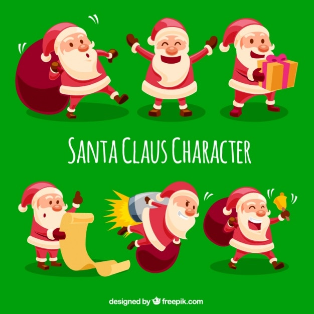 Selection of cheerful santa claus working Free Vector