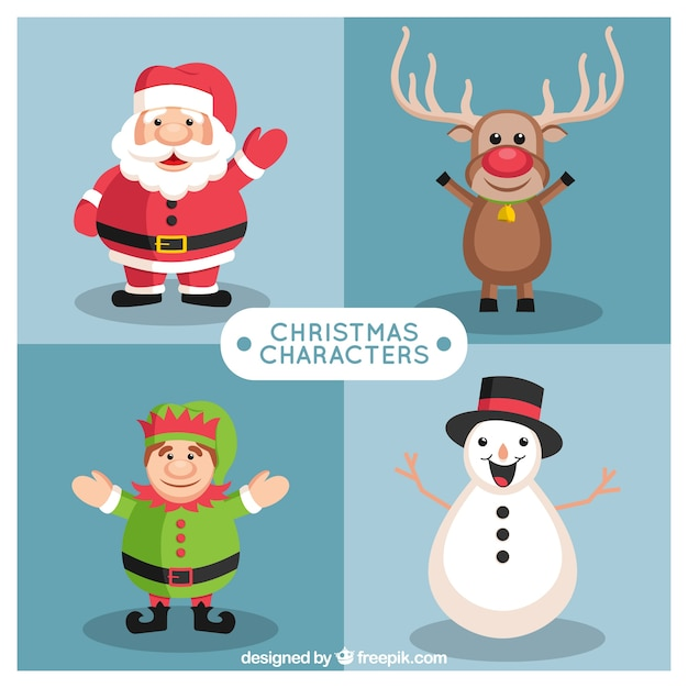 Selection of christmas characters with a big\ smile