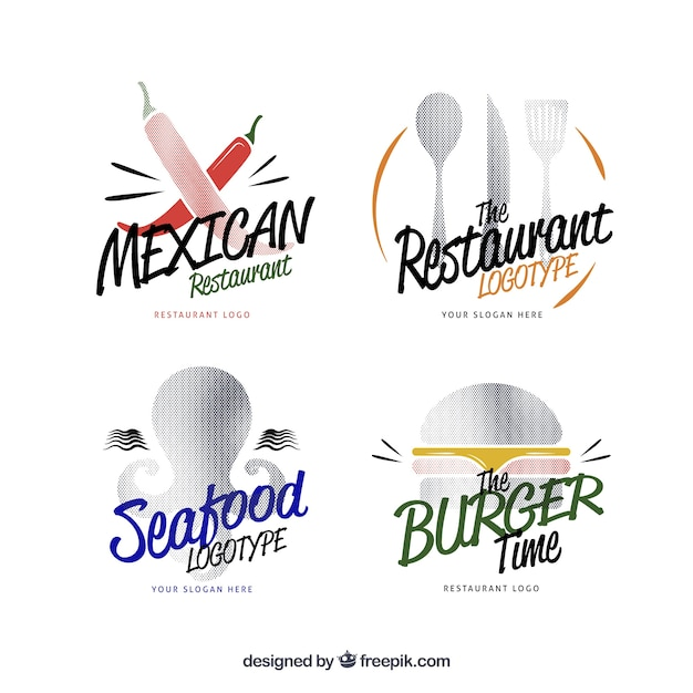 Selection of cool logos for different restaurants