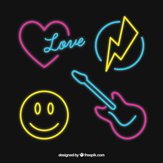 selection of decorative neon lights elements vector free