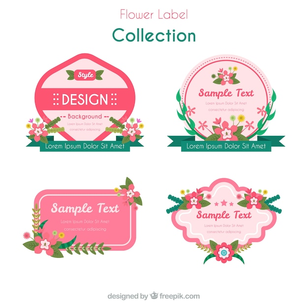 Selection Of Decorative Stickers With Beautiful Flowers Free Vector