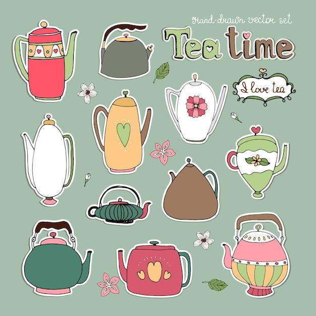 Выбор различных рисованной векторных чайников и чайников в ретро и современном стиле Бесплатные векторы