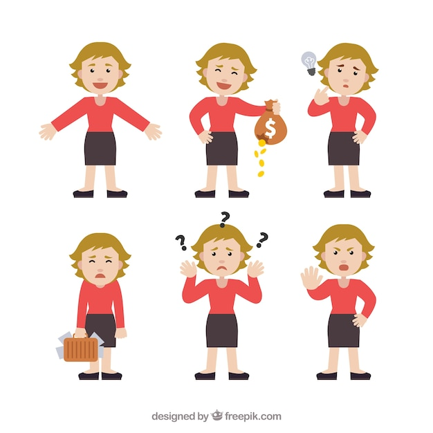 Character Design Vector Free Download : Selection of expressive businesswoman character in flat