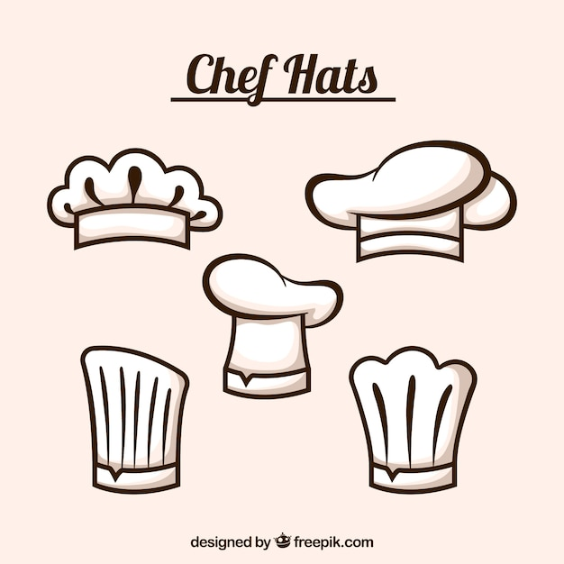 Selection of five flat chef hats Free Vector