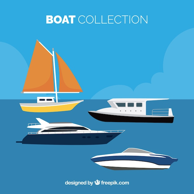 Selection of flat boats with variety of\ designs