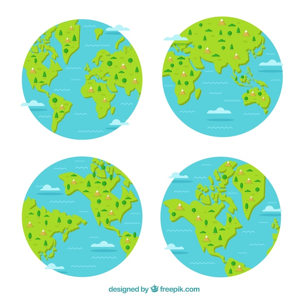 Selection of four earth globes with decorative trees and mountains Free Vector