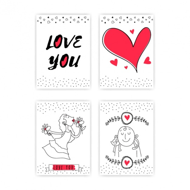 Selection of four love cards with red details Premium Vector