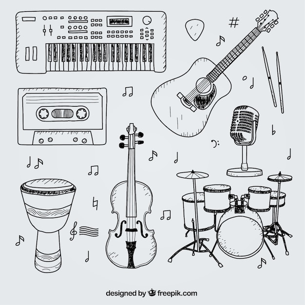 Selection of hand drawn elements for a music studio Free Vector