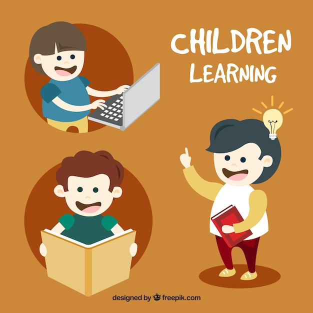 Selection of happy kids learning Vector | Free Download