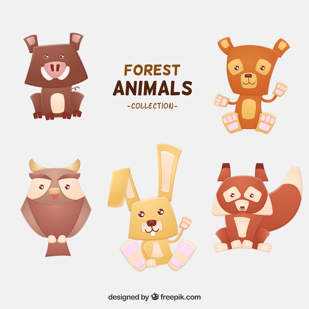 Selection of lovely forest animals in geometric\ style