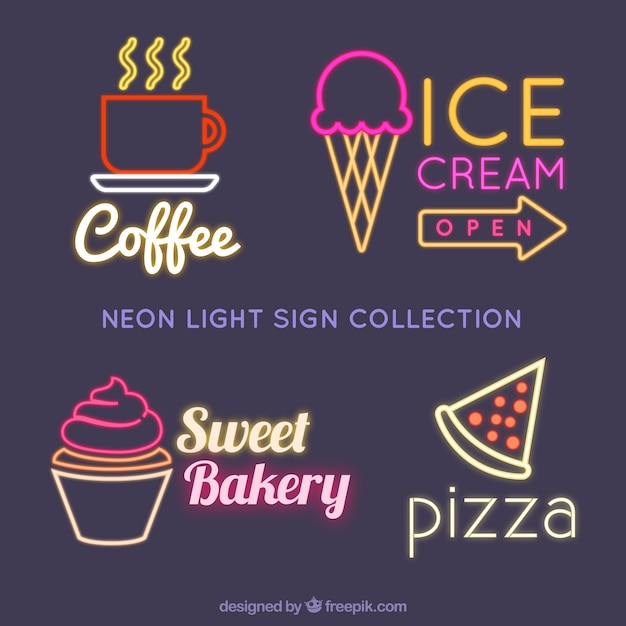 Selection of neon signs for establishments Free Vector