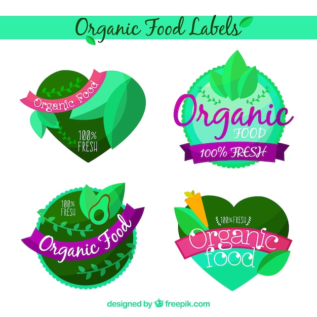 Selection of organic food stickers in flat\ design