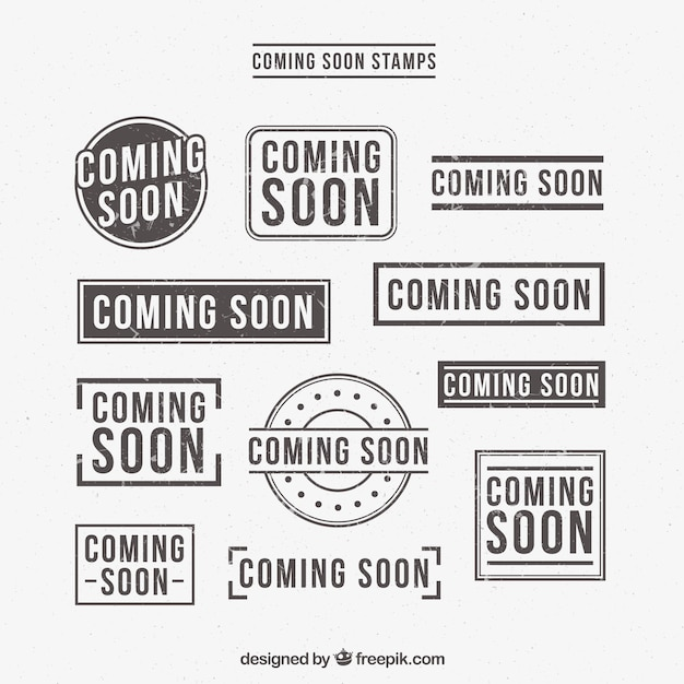 Selection of retro coming soon stickers Free Vector