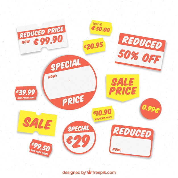 Selection of price labels for a store Free Vector