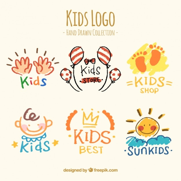 Selection of six hand-drawn kids logos Premium Vector
