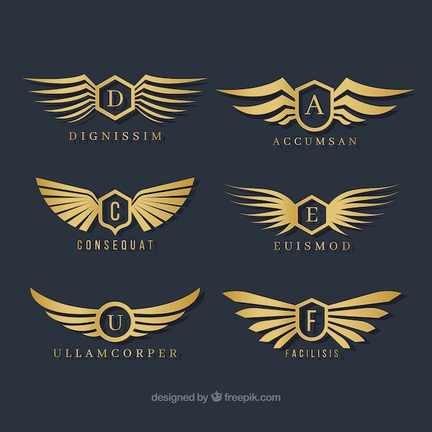 Selection of stylish wings logos Premium Vector