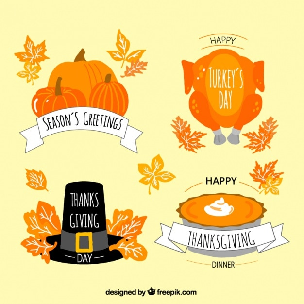 Selection of thanksgiving badges Free Vector