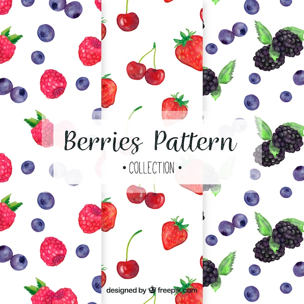 Selection of three patterns with watercolor fruits Free Vector