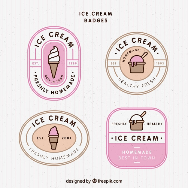 Selection of vintage badges with tasty ice creams Free Vector