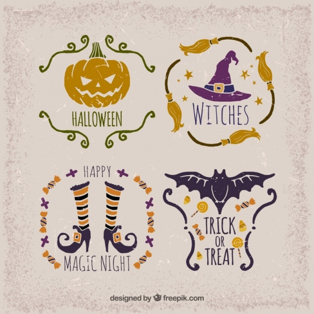 Selection of vintage stickers for halloween Premium Vector