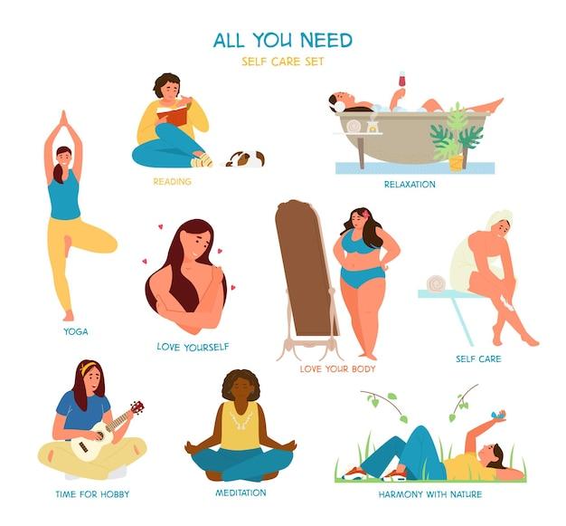Self care and time for yourself set. women enjoying time alone. reading, taking bath, practicing yoga, self hugging, admiring herself, meditating, playing ukulele. Premium Vector