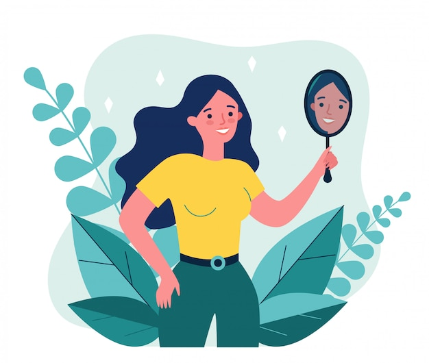 Premium Vector | Self centered woman suffering from narcissism