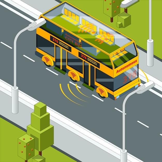 自動運転車。自動車等尺性の自己制御自動車システムの道路写真での自律車両 Premiumベクター