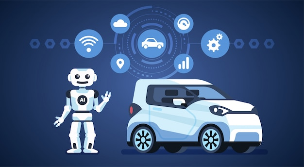 Self-driving car with robot and icons Premium Vector