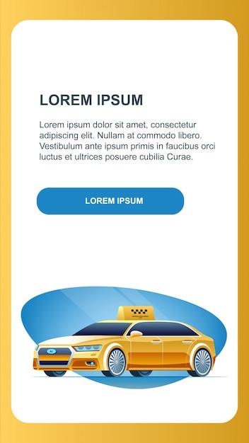 Self driving taxi car вертикальный рекламный баннер. Premium векторы