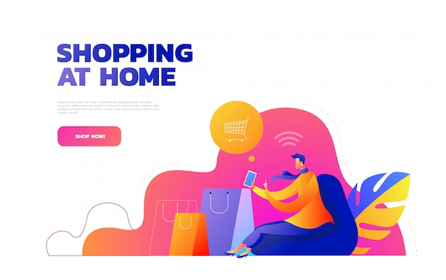 Premium Vector Self Isolation Concept Young Girl Doing Online Shopping From Home During Covid 19 Online Purchases From Home During Quarantine Illustration