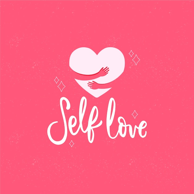 Self love lettering background Free Vector