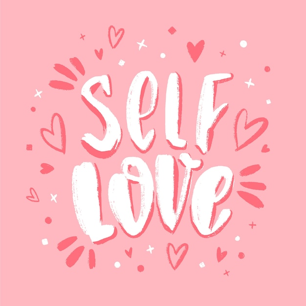 Self love lettering on pink background Free Vector
