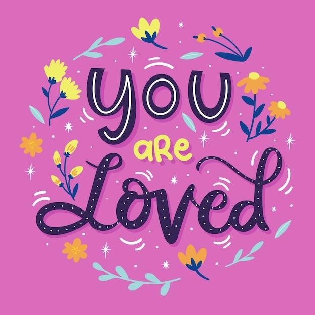Самостоятельная любовь надписи с цветочными Бесплатные векторы