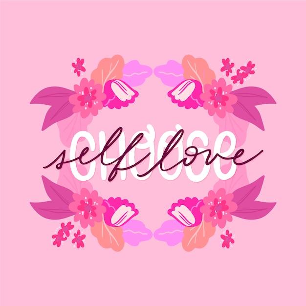 Self love lettering with flowers wallpaper Free Vector