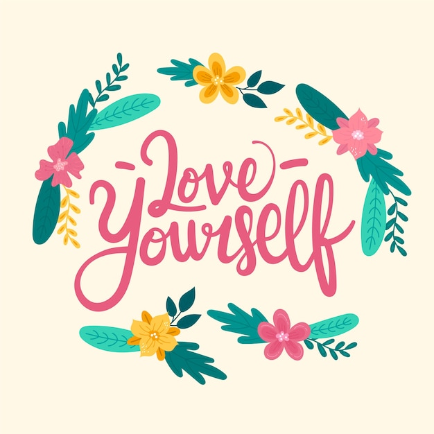 Self love lettering with flowers Free Vector