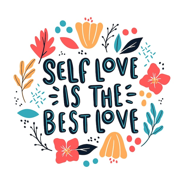 Self love lettering with flowers | Free Vector