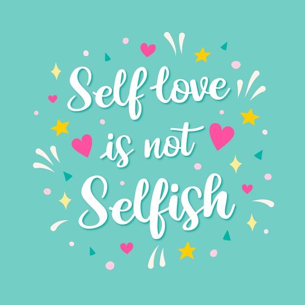 Self love lettering Free Vector