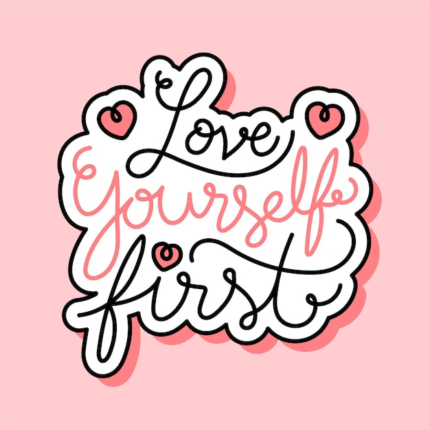 Self love lettering Free Vector