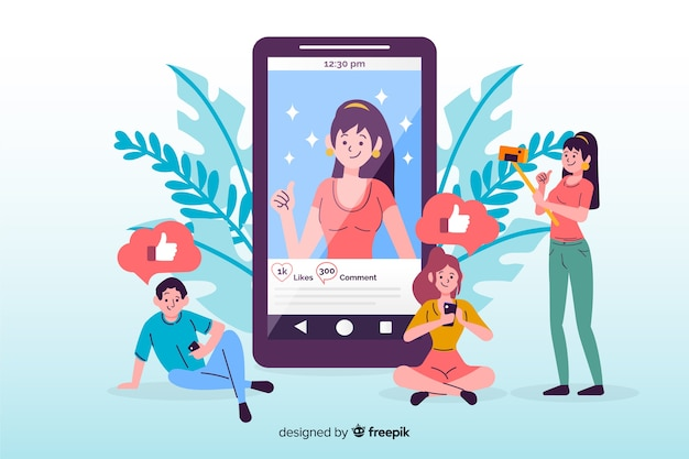 Self photo concept on social media Free Vector