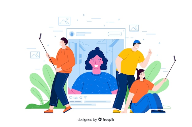 Self photo concept with people taking pictures with selfie sticks Free Vector