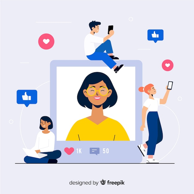 Self photo concept of young woman taking photos Free Vector