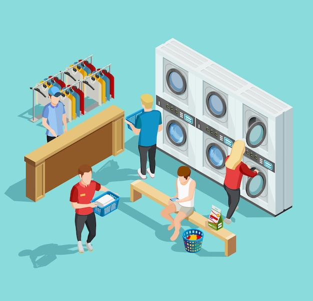 Self service laundry facility isometric poster Free Vector