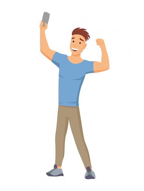 Selfie concept with young man standing and make a self portrait with mobile phone camera in flat style Premium Vector