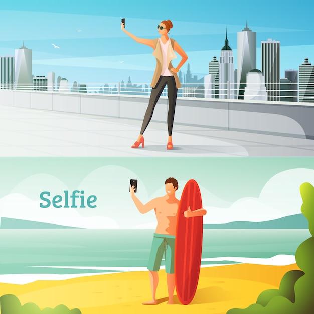 Selfie horizontal illustrations set Free Vector