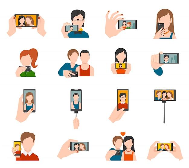 Selfie icons flat Free Vector