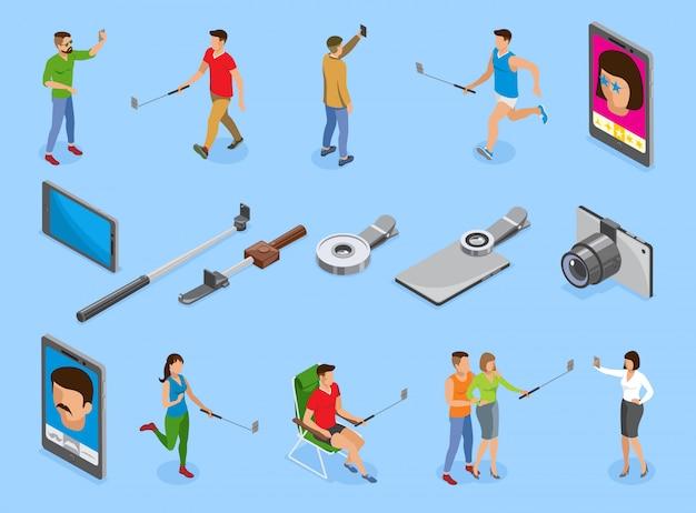 Selfie isometric icons set Free Vector