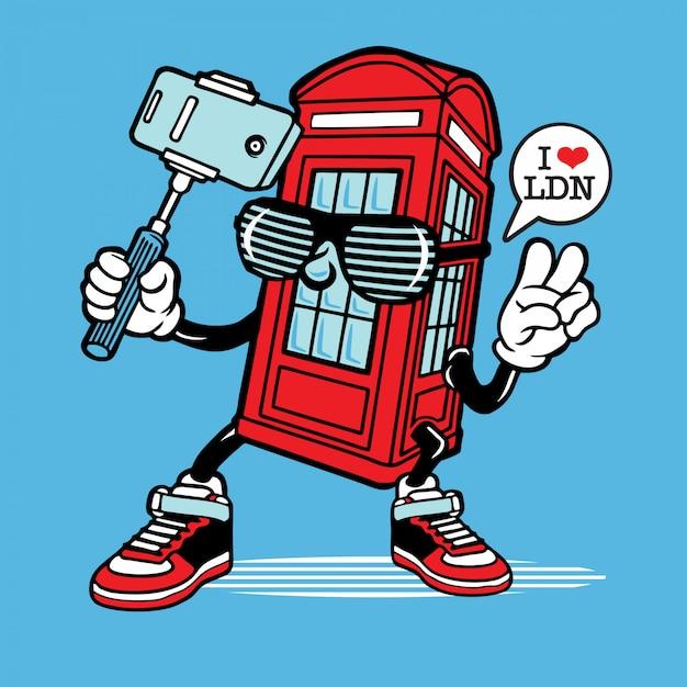 Selfie london phone booth character design Premium Vector