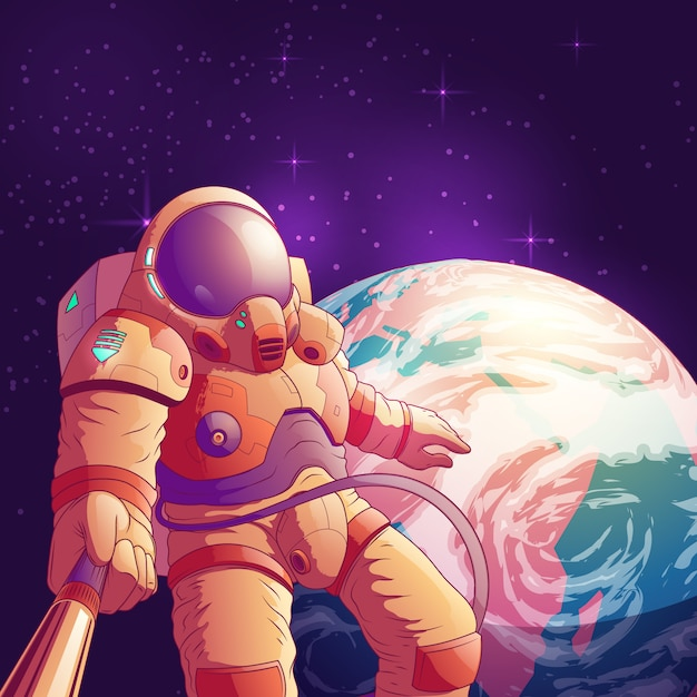 Selfie in outer space cartoon illustration with astronaut in futuristic space suit Free Vector