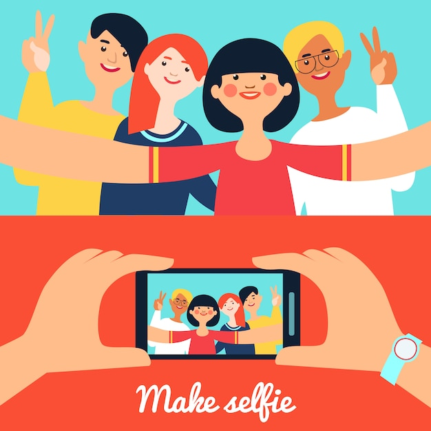 Selfie photo of friends banners Free Vector